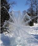 Паутина, покрытая льдом. Россия